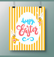 poster with a handwritten phrase of happy easter vector image