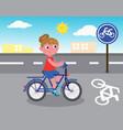 biker girl on bicycle lane vector image vector image