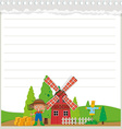Line paper design with farm theme vector image vector image