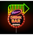 Drink bar Neon sign vector image