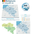Belgium maps with markers vector image
