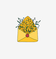 Retro envelope with flowers vector image
