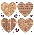 set of hearts with ornaments vector image