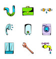 washing icons set cartoon style vector image