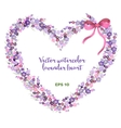 watercolor heart-shaped wreath of lavender vector image