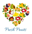 Heart emblem of fresh exotic tropical fruits vector image vector image