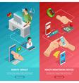 Digital Health Isometric Vertical Banners vector image