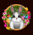 white bunny in frame with flowers isolated on dark vector image vector image