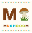 alphabet for children letter m and a mushroom vector image