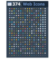 374 web icons vector image