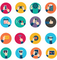 Modern flat icons collection in stylish retro vector image