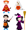 Halloween trick or treating children vector image