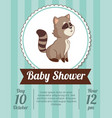 baby shower card invitation - raccoon decorative vector image