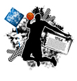 basketball grunge vector image