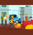 Construction workers characters flat poster vector image