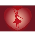Dancing ballerina in a big red heart in the form vector image