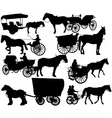 Horse drawn vehicle silhouettes vector image
