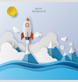 rocket launch icon abstract background vector image