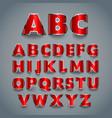Shiny red font alphabet design vector image