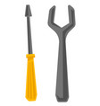 wrench and screwdriver cartoon vector image
