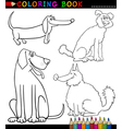 Cartoon Dogs or Puppies Coloring Page vector image