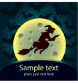 Halloween card with witch vector image vector image