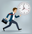 business man running and hurry up vector image