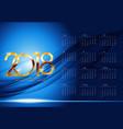 Calendar 2018 week starts from sunday vector image