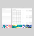 decorative lined pages for notes schedule lists vector image