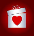 gift box and heart symbol for valentines day vector image