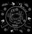Lettering crab menu fresh crab seafood menu vector image