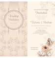 Wedding invitation template beige vector image