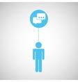 silhouette man bubble speech social network design vector image