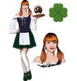 irish girl with beer vector image vector image