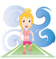 pretty woman athlete playing soccer vector image