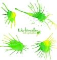 Green watercolor splash blots vector image