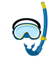 Blue diving mask and tube vector image