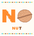 alphabet for children letter n and a nut vector image