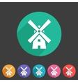 Mill windmill icon flat web sign symbol logo label vector image