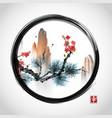 pine tree branch red sakura cherry tree in vector image