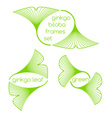 Linear ginkgo biloba leaves frames vector image
