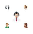 flat icon telemarketing set of secretary help vector image