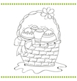 Outlined Easter basket of eggs vector image