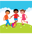 Group of kids playing with a ball vector image