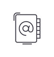 address book line icon sign vector image