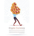 crypto currency concept man holding stack of vector image