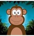 Cute cartoon monkey in front of jungle background vector image