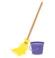 mop and water bucket vector image