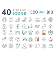 Set Flat Line Icons Eco and Bio vector image