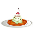 Waffle with icecream on plate vector image